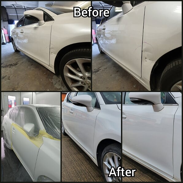 car bumper before and after repaired